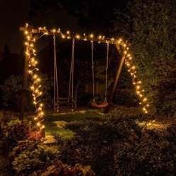 Catena luminosa decoLED - 20 m, LED 120 diodi a luce bianca calda, cavo bianco