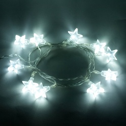 Catena luminosa decoLED con stelle - 1.8 m, luce bianca calda, a batteria, decoLED