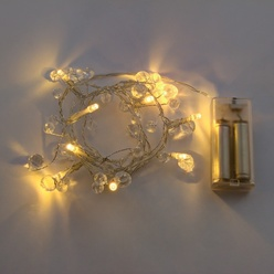 Catena luminosa decoLED con cristalli -  1,3 m, LED luce bianca calda