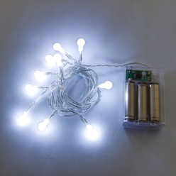 Catena luminosa decoLED, a batteria - 2,1 m, LED 10 diodi a luce bianca fredda