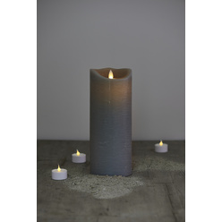 Candela di cera a LED - color grigio, 25 cm