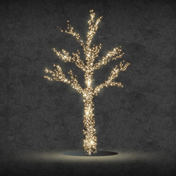 Albero luminoso decoLED - LED 1600 diodi luce bianca calda, 213 cm